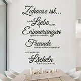 Bilderwelten Wandtattoo Sprüche Zu Hause ist, Sticker Wandtattoos Wandsticker Wandbild, Farbe: Schwarz, Größe: 60cm x 40cm