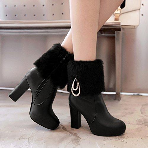 YE Damen Spitze Blockabsatz High Heels Stiefeletten mit Fell 10cm Absatz Winter Warm Gefütterte wasserdichte Schneestiefel Schwarz