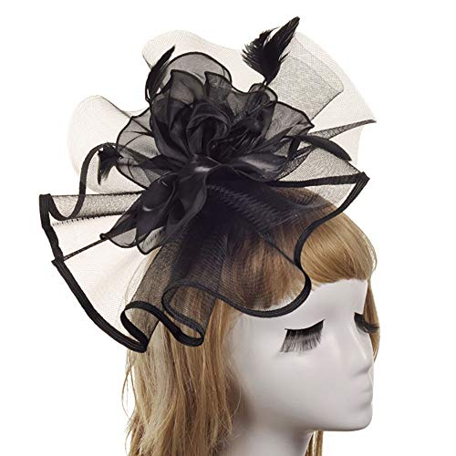 DMMW-Accessories Fascinator-Hut Blumen Party Mädchen Frauen Haarspange Headwear Cocktail Hut Kopfschmuck Cocktail Tea Party Kopfbedeckungen (Color : Black, Size : Free Size) (Black Tea-party-hut)