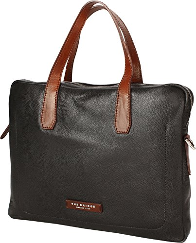 The Bridge Plume Mix Uomo Shopper Tasche Leder 40 cm Laptopfach black-brown-palladium