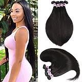 JiSheng Cheveux Virtuel brésilien Straight Hair Weave 4 paquets Unprocessed Brazilian Virgin Human Hair Weave Natural Color 50 grammes / pcs (12 14 16 18)...