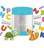 Mummy Cooks - Lunchbox Boite Thermos Alimentaire pour Enfant et Bébé Récipient Isotherme et Hermétique Conteneur Conservation Repas Chaud ou Froid en Inox 300ml (Bleu) - STICKERS OFFERTS