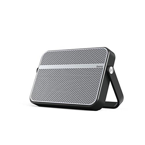 Hama Bluetooth Lautsprecher Blade (spritzwassergeschützt nach IPX4, tragbarer Wireless Speaker zum Aufhängen oder Aufstellen, 10 Watt, bis 12 Stunden Akku Laufzeit, 10 m Reichweite, inkl. 3,5 mm Klinkenkabel und USB Kabel) silber/schwarz