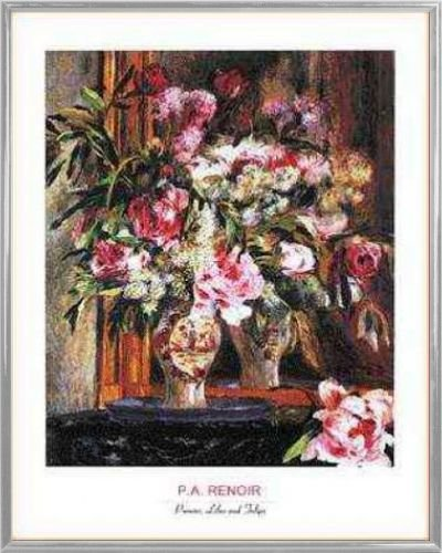 1art1 Pierre Auguste Renoir Poster Kunstdruck und Kunststoff-Rahmen - Peonies, Lilas and Tulips (50 x 40cm)
