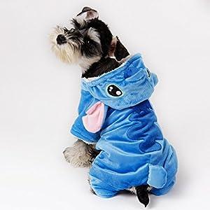 Speedy Pet Vetement Joli pour chien/chat Costumes Stitch Cartoon Conception Cosplay Manteau a capuche en tissu de laine Bleu XL