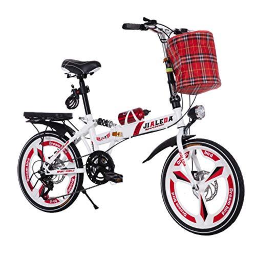 Yunyisujiao Klapprad Geschwindigkeit Auto 20 Zoll Klapprad Scheibenbremsen Schock Modelle Männer Und Frauen Mini Studenten Ultraleichte Tragbare Fahrrad (Color : RED, Size : 150 * 30 * 100CM)