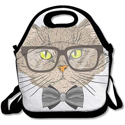 Le Chat Porte des lunettes simples L et épais en néoprène Sac repas isotherme Sacs à lunch Cooler chaud chaud avec avec sangle d'épaule pour femme ado Filles Enfants adultes