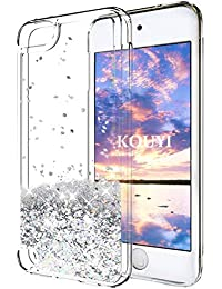 KOUYI Funda iPod Touch 6, Brillo Brillante Liquida Claro 3D Bling Cubierta Flowing Liquid diseño Creativo Cristal TPU Fundas Case Telefono Movil Smartphone Carcasas para Apple iPod Touch 6 (Plata)