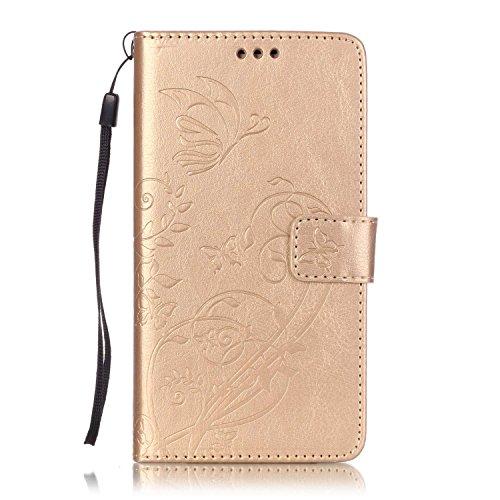 ISAKEN Custodia Cover Samsung Galaxy J7 2016, Galaxy J7 2016 Flip Portafoglio Cover Wallet Cover Fiori Design in Pelle PU Protezione Caso con Supporto di Stand/Carte Slot/Chiusura - Flower: Grigio
