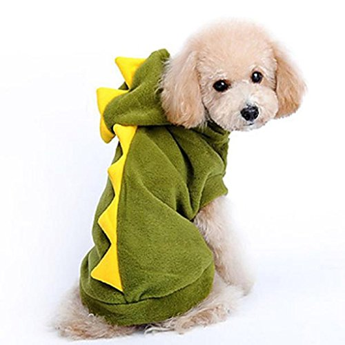 Loveso-Haustier Hunde Kleider Bekleidung Grüner Dinosaurier-Haustier-Hundewelpen -Mantel Hoodie-Kleidung-Kostüm (S, Grün) (Hund Kostüm Zwei Hunde Transport Box)