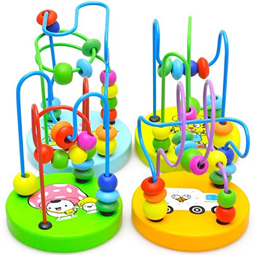 SZTARA Colorful Baby Kids Wooden Mini Around Beads Educational Toy Bead Roller Coaster Gift Wire maze Learning Play Game Toys