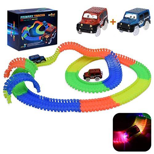Autorennbahn Leuchtend für kinder ab 2 Jahre - HEYSAMO Magic Twister Track Sets inklusive 220 Schienen (3m Lang) + 2 Blinken E-Autos, mit Emoji stickers zur Verfügung gestellt.(MEHRWEG) - Spielzeug-rennstrecke