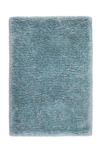 Teppich Wohnzimmer Carpet Hochflor Shaggy Design Ecuador - Macas Rug Unifarbe Muster Polyester 80x150 cm Blau/Teppiche günstig online kaufen
