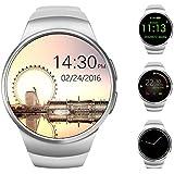 AWOW Smart Watch Bluetooth Reloj Inteligente, Ronda de 1,3 Pulgadas IPS Pantalla Táctil Resistente al Agua Reloj Teléfono con Tarjeta SIM Ranura, Monitor de Sueño, Ritmo Cardíaco Monitor y Podómetro Para IOS y Android Dispositivo (Blanco)