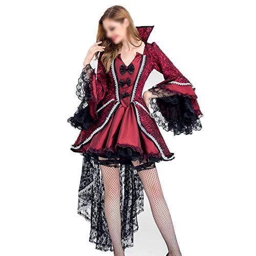 Kostüm Königin Schnee Winter - YCLOTH Damen Smoking 2019 Halloween Schwarz Vampir Nachtclub Kostüm Damen Hexe Kostüm Königin Uniform Versuchungsparty, Material, rot, XXL 0.00watts