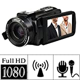 MARVUE Videokamera Full HD 1080p Camcorder 24.0MP Digitalkamera 2,7 Zoll LCD Drehbarer Bildschirm 16x Digitaler Zoom