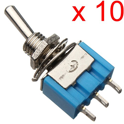 Gaoxing Tech. 50Pcs AC 125V 6A SPDT 3 Pin On / On 2 Position Miniatur Toggle Switch Blau -