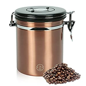 Airtight Coffee Canister,Movaty Stainless Steel Coffee Container CO2 Valve Vacuum Storage, 16oz/21oz with 1 Measure Spoon,for Coffee, Tea, Nuts and Powders,Color Black/Silver/Brown