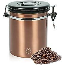 Movaty Bote para café con cuchara, Café hermética, contenedor de café de acero inoxidable