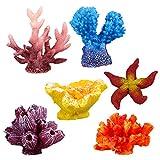 UEETEK 6 Pcs Multicolore Aquarium Décor Artificielle Étoile de Mer Faux Corail...