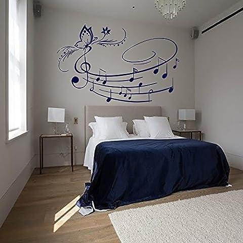 Música arte de la pared del vinilo de la mariposa etiquetas engomadas de las notas musicales de la escuela Estudio Decoración Dormitorio Sala de Arte Murales