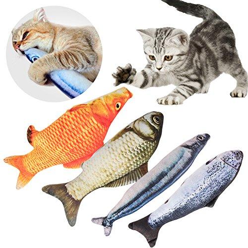 Spielzeug mit Katzenminze, 4 Stück Katze Fisch Kissen Katzenminze Fisch Interaktives Katzenspielzeug Simulation Plüsch Fisch Form; Catnip Toys Fish Catnip Cat Toys Simulation Plush Fish Shape (20cm)