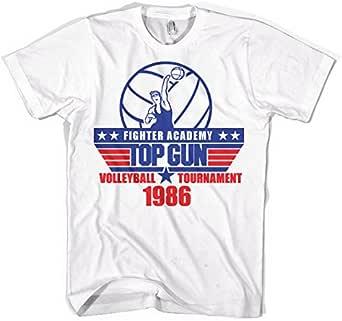 Top Gun Maglietta Uomo con Licenza Ufficiale Volleyball Tournament Mezze Maniche (Bianca)