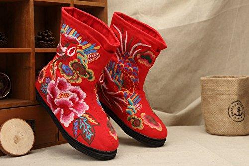 &qq Tradizionale cinese nazionale vento/vento/ricamo/scarpe/donne di/comfort/tempo libero/moda/le quattro stagioni, autunno, inverno Red