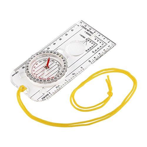 (myfei Mini Grundplatte Kompass, Langlauf Race Wandern spezielle gerichtete Langlauf Lineal Maßstab Kompass für Outdoor Camping)