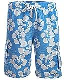 Herren Boardshorts / Badeshorts / Badehose / Hibiskus / Surfen / Lässig / Sommer / Strand 1214-f5150 Farbe: Türkis/Blau/Weiß Hibiskus Design, Gr. 3XL