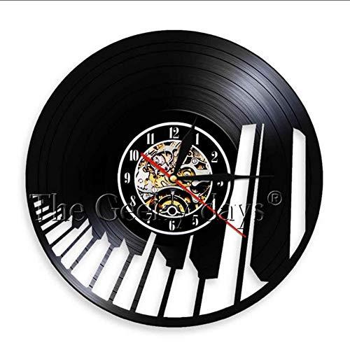 TIANZly Musik Merkt Vinylaufzeichnungsuhr Handgemachte Klavier-Partei-Wandkunstdekorationuhr Violinschlüssel-Symbolmusikschattenbild-Raumkunst Raumdekoration (Halloween Aus Film Dem Klavier-musik)