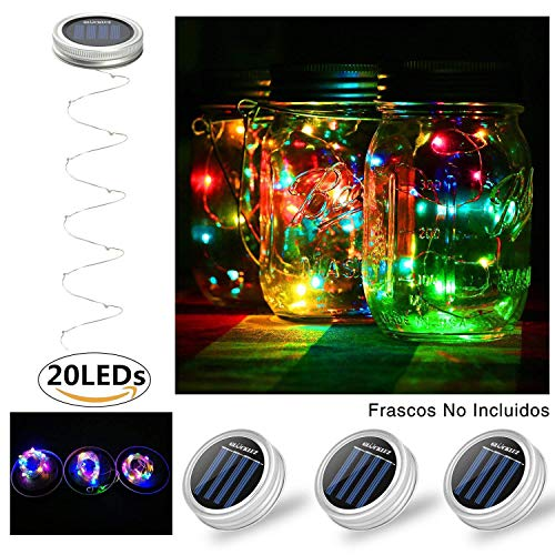 (Glückluz Solar Mason Glas Licht Mason Glas Deckel einlegen Mason Jar Glas LED Solar Licht sieben verschiedene Farben,Hängeleuchte solarleuchten garten kann ganzjährig Freien benutzt werden)