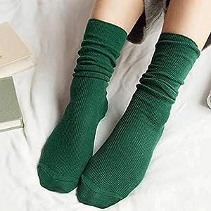 Sanzhileg Herbst-Winter-Weinlese-mittlere Mädchen-Frauen-Socken-Breathable Art und Weise beiläufige Reine Farben-Baumwollmittelsocken – Gras-Grün