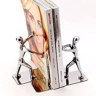 Joyoldelf Buchstützen CD-Ständer Kung Fu Man aus Metall,für Hause, Büro und Bibliothek Dekoration, 1 Paar Silber