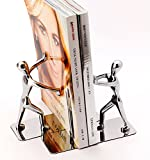 Joyoldelf Heavy Duty Kung Fu Man Bookends, Stainless Steel Book Ends for Shelf Home Office Library Decoration, 1 pair (Silver)