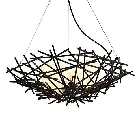 AMZH Modern rattan nest bird's nest chandelier restaurant cafe Pendant Lights E27 hanging wire length 1 m adjustable diameter 50cm base