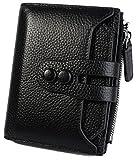 Ausverkauf-Yaluxe Damen RFID Blockierung Sicherheit Leder klein Billfold Geldbörse Kiesel schwarz