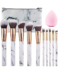 SEPROFE Make Up Brushes 10 Pieces Marble Pattern Professional Makeup Brush Set Kabuki Foundation Blending Concealer Eye Face Liquid Powder Cream Brushes Sets with Cosmetics Bag