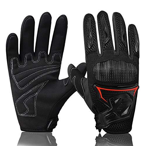 XiuZP Fahrradhandschuhe, Mountainbike Fahrrad Vollfingerhandschuhe PVC-Schutzhülle, Anti-Fall (Paar) für Damen Herren (Color : Black, Size : M)