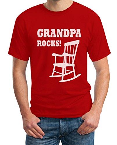 Grandpa Rocks - Grossvater Rockt Witziges Geschenk Opa T-Shirt Rot