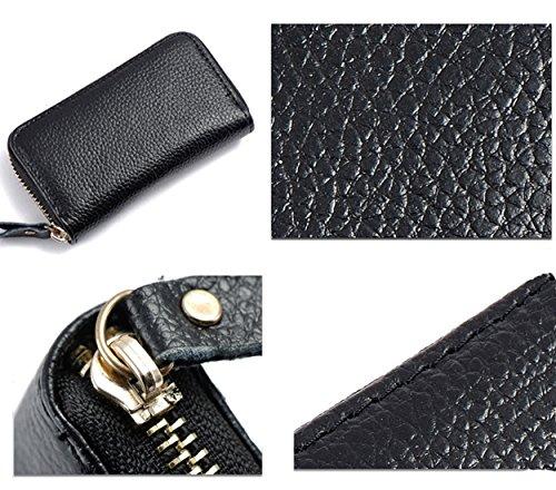 iSuperb® Leder Schlüsseletui Schlüsseltasche Autoschlüssel Tasche und Geldbörse für Herren und Damen in 3 Farbe 11.5x6.5x2.2cm (Rose) Schwarz