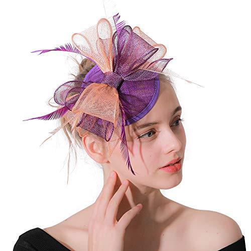Bänder Federn auf Einem Stirnband Und Einem Clip Cocktail Tea Party Headwear für Mädchen und Frauen ()