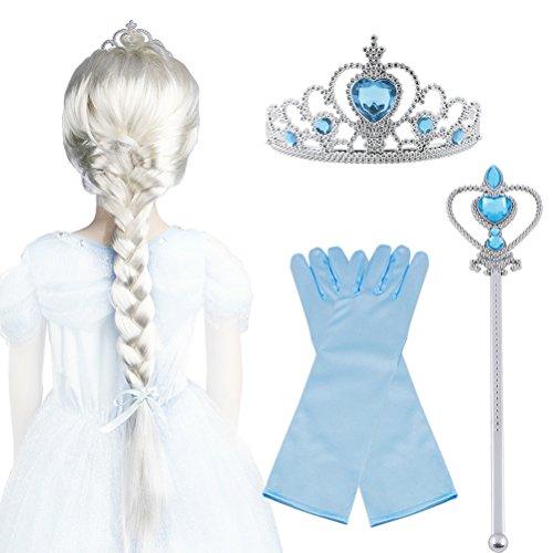 Vicloon - Set di Costumi per Ragazze Costume Elsa Frozen Costume Carnevale- Parrucca / Diadema con un Diamante / Guanti / Bacchetta Magica(B)