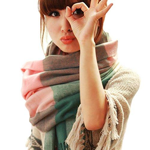 Scrox Printemps et hiver femmes long paragraphe écharpe épaississement chaud châle minimaliste style sauvag
