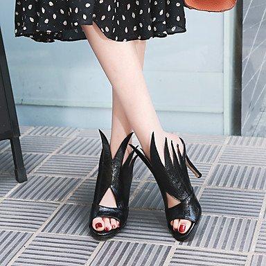LvYuan Da donna Sandali Decolleté PU (Poliuretano) Estate Formale Decolleté Drappeggio di lato A stiletto Bianco Nero Rosso 7,5 - 9,5 cm Black