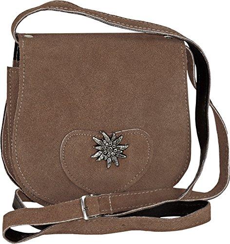 kleine Trachtentasche mit Edelweiß, Farben:braun
