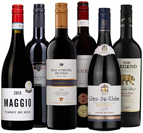 Wine A Porter Rotwein-Set \'Die Besten für jeden Tag\', 6 trockene Rotweine aus Frankreich, Italien, Spanien, Deutschland und USA, tolles Weingeschenk, Jahrgänge 2013/15/16, 6 x 0,75 l