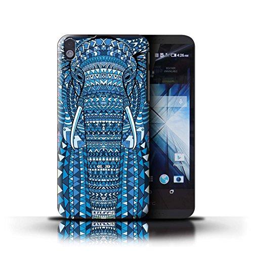 Kobalt® Imprimé Etui / Coque pour HTC Desire 816 / éléphant-Rouge conception / Série Motif Animaux Aztec éléphant-Bleu