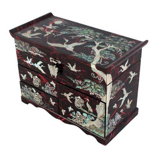 Mère de perle Grue et arbre en pin rouge papier mûrier Design Bijoux en bois Boîte à bijoux miroir Souvenir tiroir laqué au trésor poitrine boîte de rangement