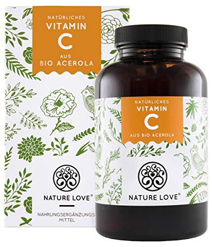 Natürliches Vitamin C in Bio Qualität - Vergleichssieger 2019* - 180 Kapseln im 3 Monatsvorrat - Aus Bio Acerola Extrakt - Hoch bioverfügbar, laborgeprüft, vegan und hergestellt in Deutschland -